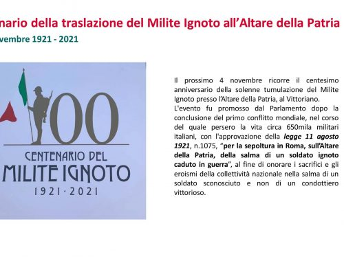 Il Milite ignoto-Roma 4 novembre 1921-2021